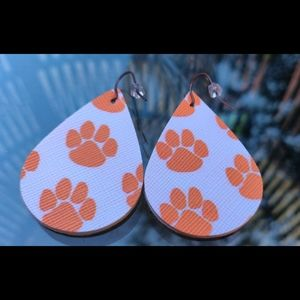 3/$20 Tiger Paw Print faux leather earrings